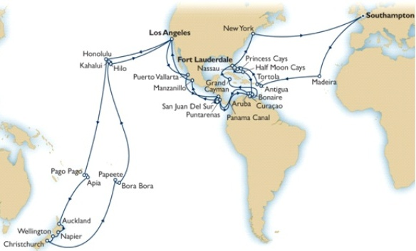 Cunard QE2 World cruise 2013 itinerary map