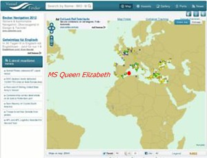 Cunard ms Queen Elizabeth ship position at VesselFinder COM