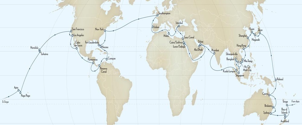 QE Cunard Queen Elizabeth World Cruise 2015 itinerary map