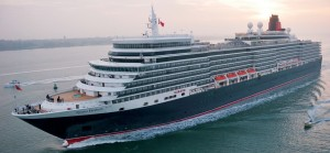 Cunard Queen Elizabeth cruise ship arriving in Southampton