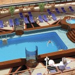 Cunard Queen Elizabeth ship Pavilion Pool
